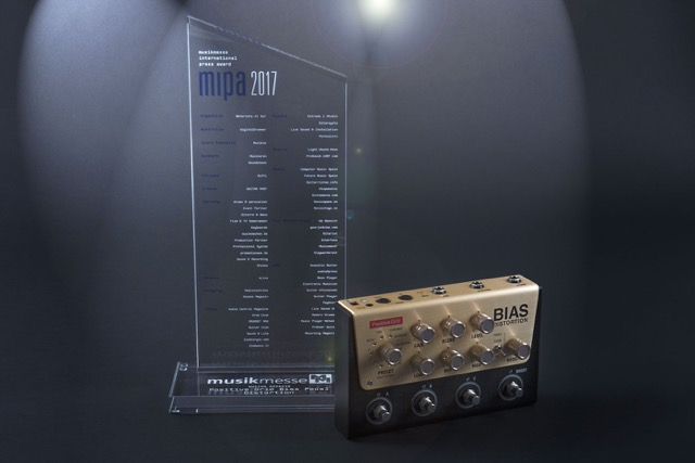 "BIAS Distortion Pedal voted as the ""Best Guitar Effect"" at MIPA 2017!"